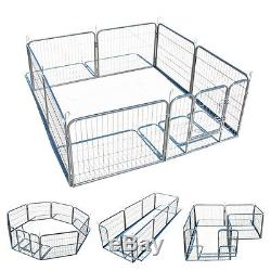 Exercise Metal Play Pen Kennel Barrier 8 Panel Puppy Cage Pet Dog Cat Fence