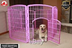 Exercise Pen Pet Play 8 Panel Puppy Dog Cage Large Open Gate Fence Kennel Pink