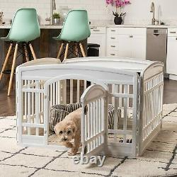 Exercise Pet Playpen, 4 Panels With Door, Kennel Fence Cats Dogs, Pet Gate Outdoor
