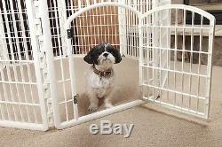 Exercise Pet Playpen With Door White Plastic Large Dog Play Pen Puppy Kennel
