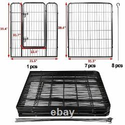 Foldable 8 Panels Metal 39Tall Pet Dog Puppy Cat Exercise Fence Barrier Playpen