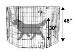 Foldable Metal Pet Dog Exercise Fence Pen With Gate 60 x 60 x 48 Inches