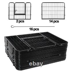 Heavy Duty 16 Panel Metal Cage Crate Pet Dog Exercise Fence Playpen Kennel