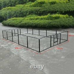 Heavy Duty 16 Panel Metal Cage Crate Pet Dog Exercise Fence Playpen Kennel Q3