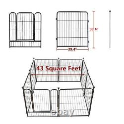 Heavy Duty 40H Metal Dog Cat Exercise Fence Playpen Kennel 8 Panel Safe For Pet