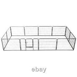 Heavy Duty Dog Playpen 12 Panel Metal Pet Cat Exercise Fence Kennel Outdoor Cage