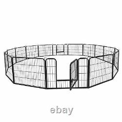 Heavy Duty Metal Cage Crate 16 Panel Pet Dog Exercise Fence Playpen Kennel