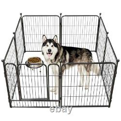 Heavy Duty Metal Dog Cat Exercise Fence Playpen Kennel 8Panel 40H Safe For Pet
