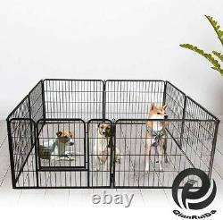 Heavy Duty Metal Dog Cat Exercise Fence Playpen Kennel 8 Panel Safe For Pet