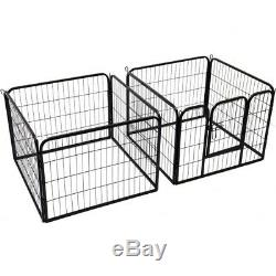 Heavy Duty Pet Play Pen Steel Dog Pig Animal Enclosure Exercise Cage Fence Gate