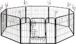 Heavy Duty Pet Playpen Dog Kennel Pen Exercise Cage Fence 8 Panel 24 x 32 Inches