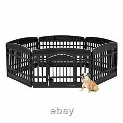 IRIS USA Exercise Pet Playpen and Panels for Dog, Puppy and Black 24 6 Panels