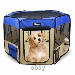 JESPET 61 Pet Dog Playpens, Portable Soft Dog Exercise Pen Kennel with Carry Ba