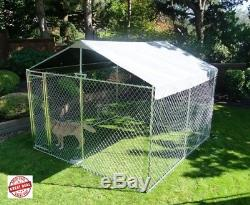Large Dog Kennel Cover Outdoor Steel Roof Pen Cage Fence Shade Exercise For All