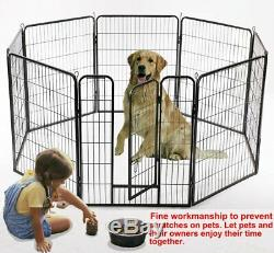 Large Dog Playpen 8 Panels Pet Cat Puppy Exercise Fence Heavy Duty Metal Cage 32