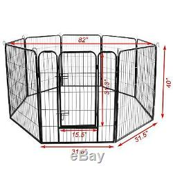 Large Metal Puppy Dog Run Fence Iron Pet Dog Exercise Playpen With Door Lock US