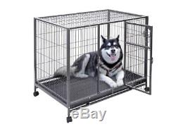 Large Metal Wire Dog Crate Pet Cage Exercise Playpen Portable Play Pen 44x29