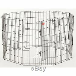 Lucky Dog Heavy Duty Dog Exercise Pen With Stakes, Steel, 24W x 36H, Black