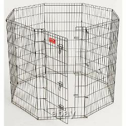 Lucky Dog Heavy Duty Dog Exercise Pen With Stakes, Steel, 24W x 48H, Black