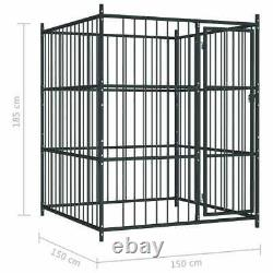 Metal Dog Kennel Heavy Duty Playpen Puppy Exercise Pet Cage Outdoor Fence 150 cm