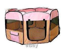 New Dog Pet Cat Puppy Pink Playpen Kennel Exercise Pen Crate House Tent