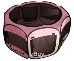 New Small Pink Grid Pet Dog Cat Tent Playpen Exercise Play Pen Soft Crate
