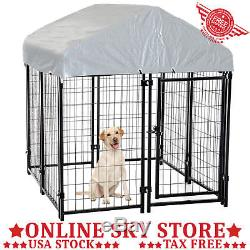 Outdoor Covered Dog Kennel Pet Cage Playpen Run Exercise Pen Enclosure Cover Box