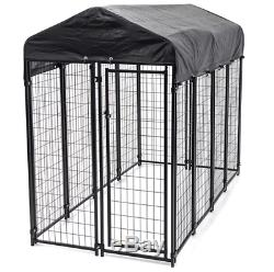 Outdoor Dog Kennel Large Covered Pet Pen Cage Shade Shelter Exercise House