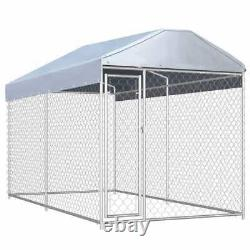 Outdoor Dog Kennel with Canopy Top 88.6 Dog Pet House Playpen with Cover Exercise