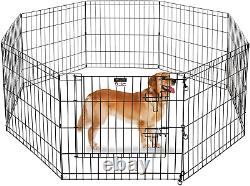 PETS FOLDABLE METAL EXERCISE PLAYPEN Indoor Outdoor Dog Cats Puppy Fences Gate