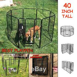 Pen Dog Kennel 40 Inch Height Exercise Playpen Extra Large with Gate 8 Panel New
