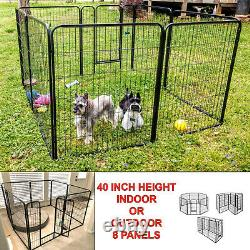Pen Dog Kennel Extra Large 40 Inch Tall Exercise Playpen with Gate 8 Panel New