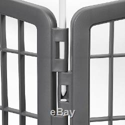 Pet Dog Playpen Crate Pen Fence Exercise Cat Cage 8 Panel Kennel Play Dark Gray