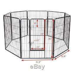 Pet Dog Playpen Exercise Fence Crate Pen Cage Cat Play Panel 8 Metal Kennel NEW