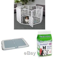 Pet Dog Playpen Play Pen Crate Fence Cage Puppy Exercise Outdoor Portable White
