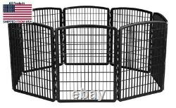 Pet Exercise Dog Fence 8 Panel Playpen Metal Pen Play Kennel Cage Folding
