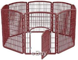 Pet Exercise Pen 8 Panel Brown Dog Kennel Heavy Duty Plastic Puppy Playpen Crate