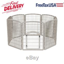 Pet Exercise Play Pen Door 34 Dog Yard Gate Safe 8 Panel Chrome Fence Enclosure