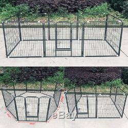 Pet Playpen Dog Exercise Pen Metal Portable Dog Fence 8 Panel for Dogs Pets B4P6