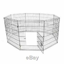 Pet Playpen Dog Kennel Pen Exercise Cage Fence 8 Panel 30 X 24 Inches Black