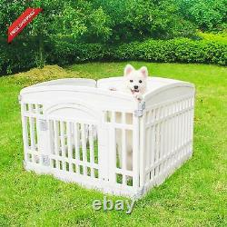 Pet Playpen Foldable Gate For Dogs Heavy Plastic Puppy Exercise Pen With Door Po