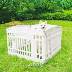 Pet Playpen Foldable Gate for Dogs Heavy Plastic Puppy Exercise Pen with Door