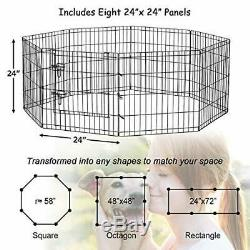 Pet Playpen Puppy Kennels Dog Fence Exercise Pen Gate Foldable Crate 8 panels