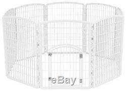 Pet Playpen With Door White Plastic Large Dog Exercise Play Pen Puppy Kennel
