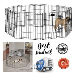 Pets Exercise Pen Dogs Playpen Playing Area House Foldable Metal With Lock Door