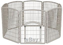 Plastic Pet Pen Indoor Outdoor 8 Panel Chrome Dog Exercise Fence Puppy Kennel