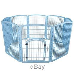 Plastic Pet Pen Playpen Puppy Exercise Dog Kennel Cat Play Portable Blue  Cage
