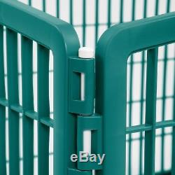 Plastic Pet Pen Playpen Puppy Exercise Dog Kennel Cat Play Portable Green Cage