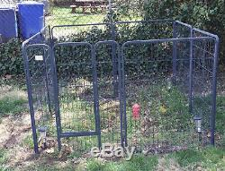 Playpen with Gate 8 Panel Pen Dog Kennel Extra Large 40 Inch Tall Exercise Black