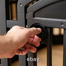 Portable Exercise 8 Panel Dog Pet Playpen with Door Non Skid Rubber Foot Black
